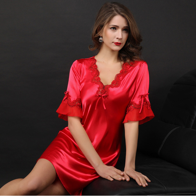 summer female women faux silk sleepshirt home dress half sleeve noble  V-neck sexy satin nightgown femme chemise de nuit B376 4c5abfb1c