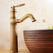 цена на Antique Brass Swivel Spout Single Hole Basin Faucet Deck Mounted Bathroom Faucet Vanity Sink Mixer Tap KD744