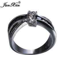 JUNXIN Classic Black Cross Ring Fashion White & Black Gold Filled Jewelry Vintage Wedding Rings For Women Birthday Stone Gifts