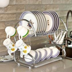 OUNONA 2 Tiers Dish Drying Rack Home Washing Holder Basket Plated Iron Great Kitchen Sink Dish Drainer Drying Rack Organizer