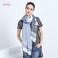 Muchique Fashion Women Scarf Spring Skinny Stripe Blue Floral Printed Soft Oversized Scarves With Tassels Sheer