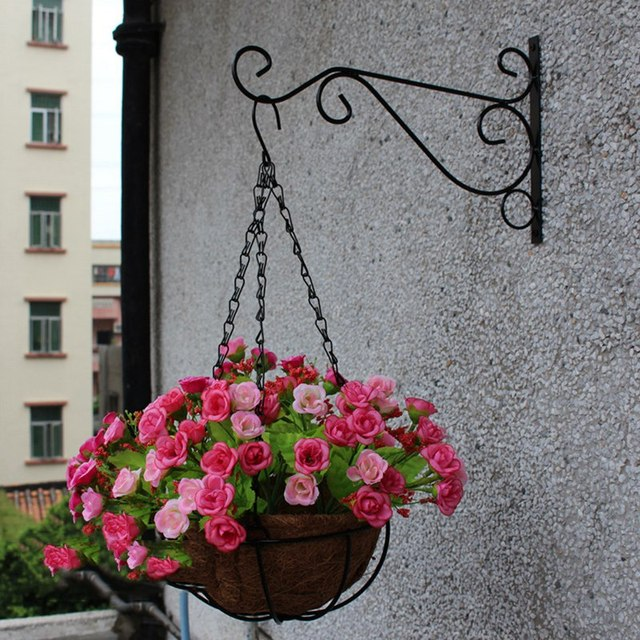 Great Plant Hanger Iron Balcony Railings Garden Wall Hook Hanging Plant Hook  Shelf Flowerpot Rack Garden Hooks