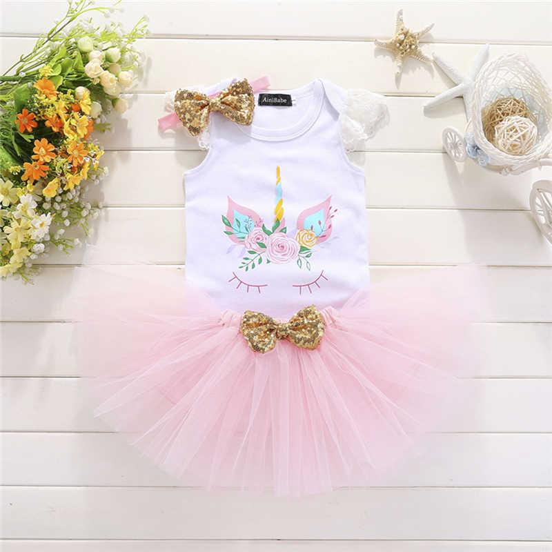f1b15c4d14340 Newborn Baby Girl Unicorn Floral 1st Birthday Party Clothes Toddler Kids  Girls Lace Romper Bodysuit Tutu Dress Skirts 3Pcs Set