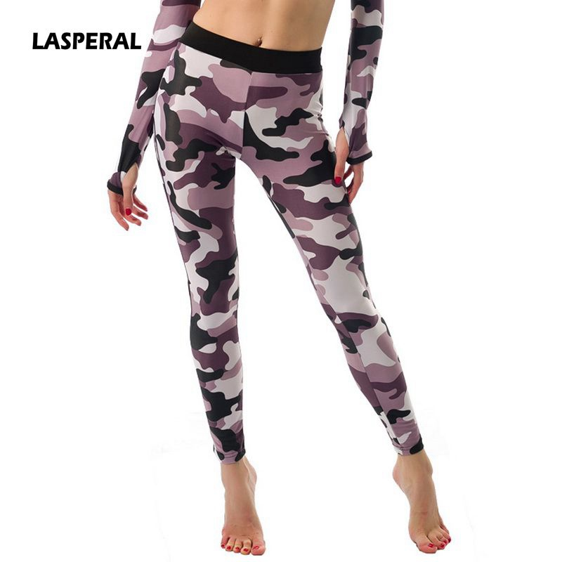 LASPERAL 2017 New Women font b Yoga b font Pants Camouflage Printing Skinny Pants Leggings for