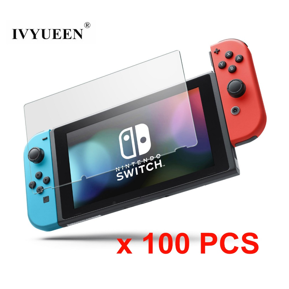 IVYUEEN 100 Pcs Screen Protector Tempered Glass For Nintend Switch NS Console HD Clear Anti Scratch
