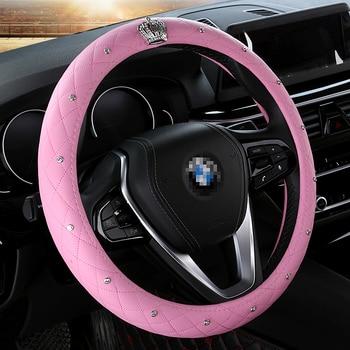 kkysyelva auto stuurhoes 38 cm mode wheel covers voor vrouwen lady lederen stuurwiel auto interieur accessoires