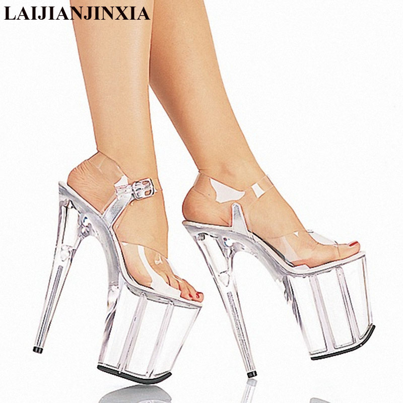 LAIJIANJINXIA 20cm Temptation Crystal Sandals Ultra High Thin Heels  Platform 8 Inch Clear Shoes Sexy Stripper Shoes-in High Heels from Shoes on  ... 42c531262d1a