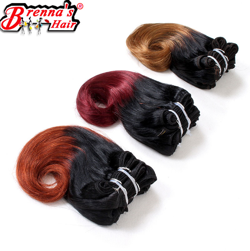 Eunice synthetic Body Wave Double Weft Short Weaving hair Color 1B Ombre burgundy purple blue 4bundles