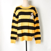 Runway Pig Embroidery Yellow Black Stripes Casual Cute Sweater Women Pullover 2019 Designer Twist Jumper Knitted Elegant Sweater