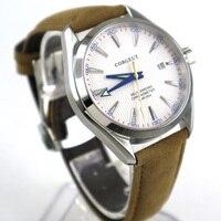 39mm Corgeut Branco Dial Caixa de aço Inoxidável Vidro de Safira Relógio dos homens Movimento Automático