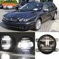 EeMrke Styling de Carro Para Jaguar X type-2004-um aumento de 2 em 1 LED Luzes Diurnas Fog Lâmpada Luz DRL Com Lente