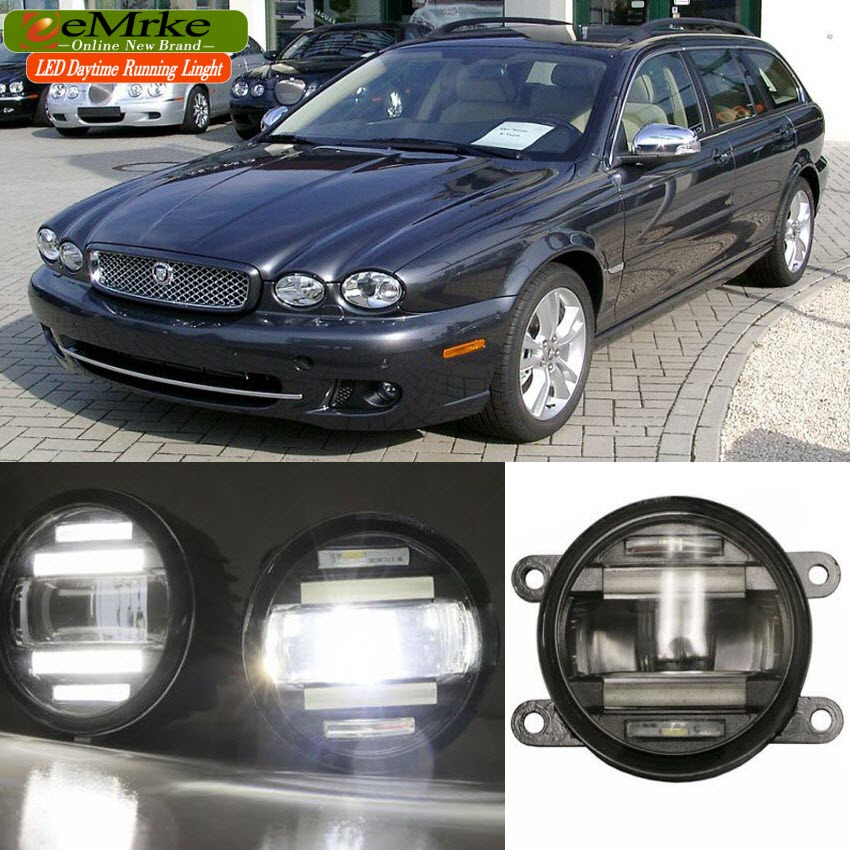 eeMrke Car Styling For Jaguar X-type 2004 - up 2 in 1 LED Fog Light Lamp DRL With Lens Daytime Running Lights for jaguar s type 1999 2008 led lamps fog light lights car styling 1 set