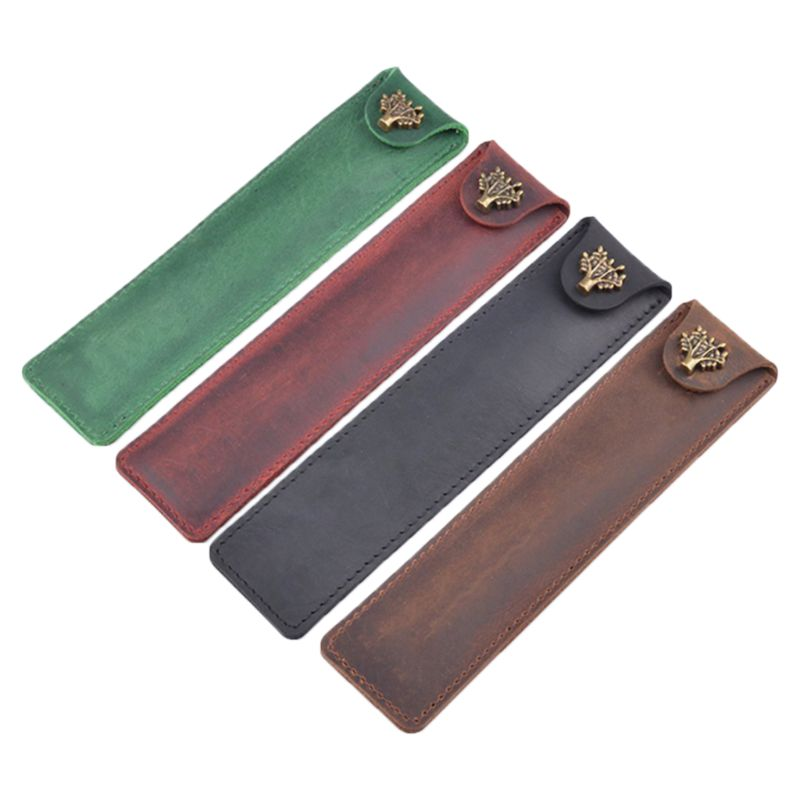 Leather Pen Holder Fountain Pen Pouch Pencil Holder Handmade Ballpoint Pen Protective Sleeve Cover For Office College University
