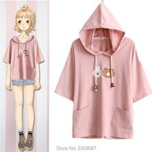 Summer T-shirts Kawaii Cute Bunny Bear Pockets Hoody Shirt Lolita Mori Girls Short Sleeve Casual Tops Tee Harajuku Teen Tees WXC