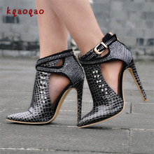 kqaoqao Pointy Toe Ankle Buckles Short High Heel Boots. US  86.35   Pair Free  Shipping 2b6e597edbf6
