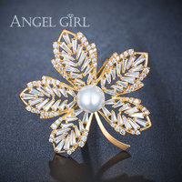 Angel Girl Crystals Leave Pearl 10mm Scarf Brooches Pins Gold Color Rhinestone Brooch Christmas Bouquet Gift