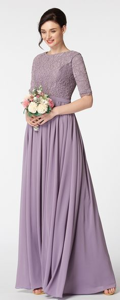 2017 Long Modest Bridesmaid Dresses With Half Sleeves Lilac A Line Floor Length Lace Chiffon Country Gowns Custom In From