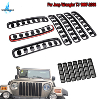WISENGEAR For Jeep Wrangler TJ 1997 2006 Black Front Grille Mesh Honeycomb Stripe Insert Grilles Frame Cover Vent Radiator Grill