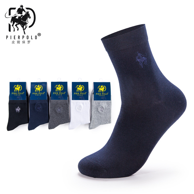PIERPOLO Brand Socks High Quality 5Pairs/lot Men Cotton Socks Business Men's Socks Embroidery Long Dress Socks calcetines
