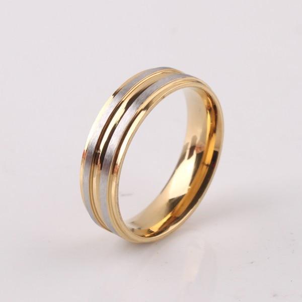 doprava zdarma Široká 6mm matná zlatá barva prsteny 316L nerezová ocel muži ženy prst prsten velkoobchodní šarže