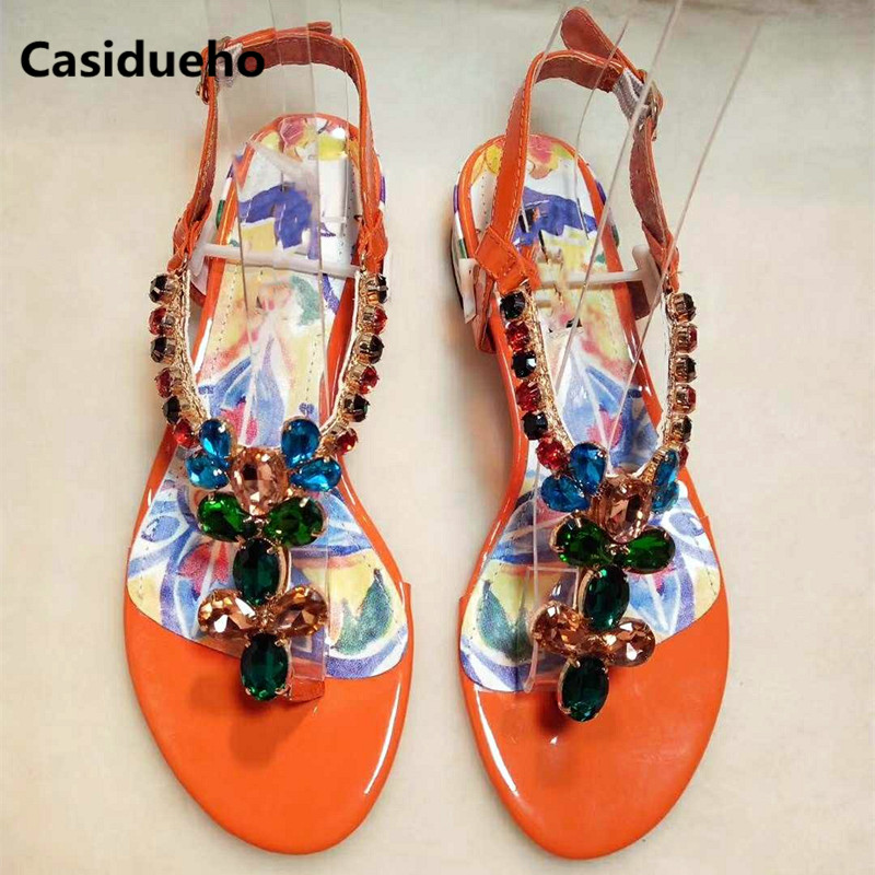 Casidueho Gladiator Sandals Women Flip Flops Crystal Strap Thick Heels Dress Shoes Woman Print Leather Slippers Rome Sandalias цена 2017