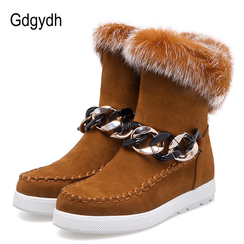 Gdgydh 2017 New Fashion Chain Lades Cotton Shoes For Winter Black Brown Real Fur Warm Flat Heel Snow Boots Women Big Size 43 fun ville new fashion woman snow boots black gray brown real fur wool ankle boots warm winter shoes for women size 34 42