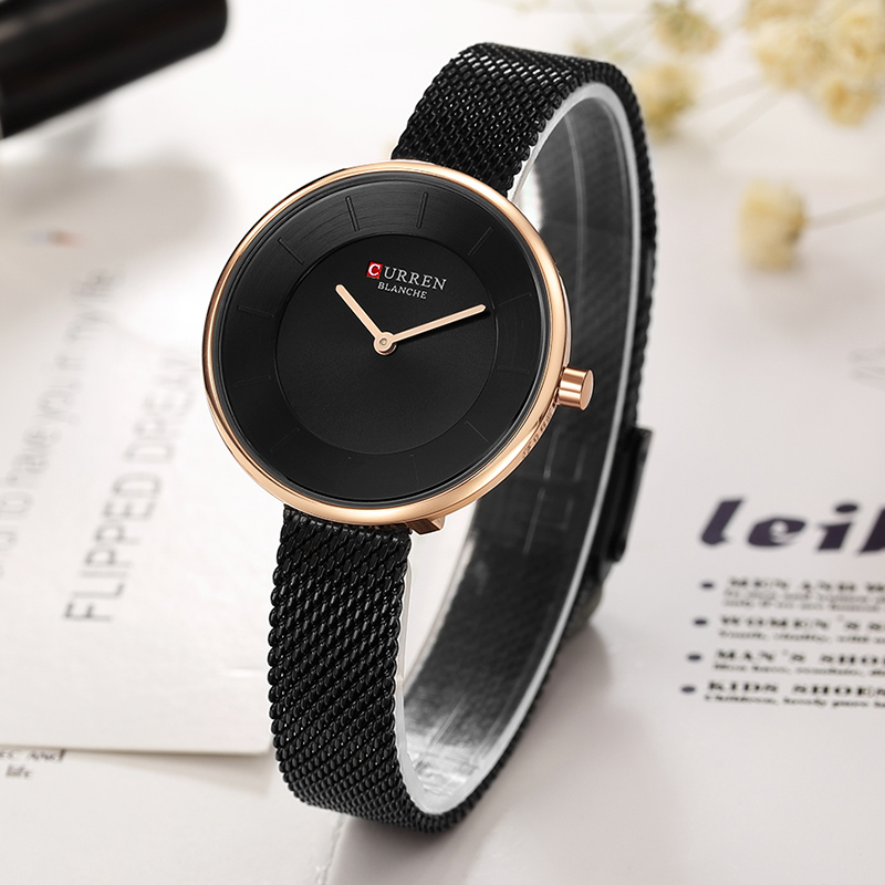 2018 CURREN New Women Watches Luxury Brand Women Dress Quartz Watch Creative Dial Fashion Girl Clock trendy see through off the shoulder long sleeve lace blouse for women