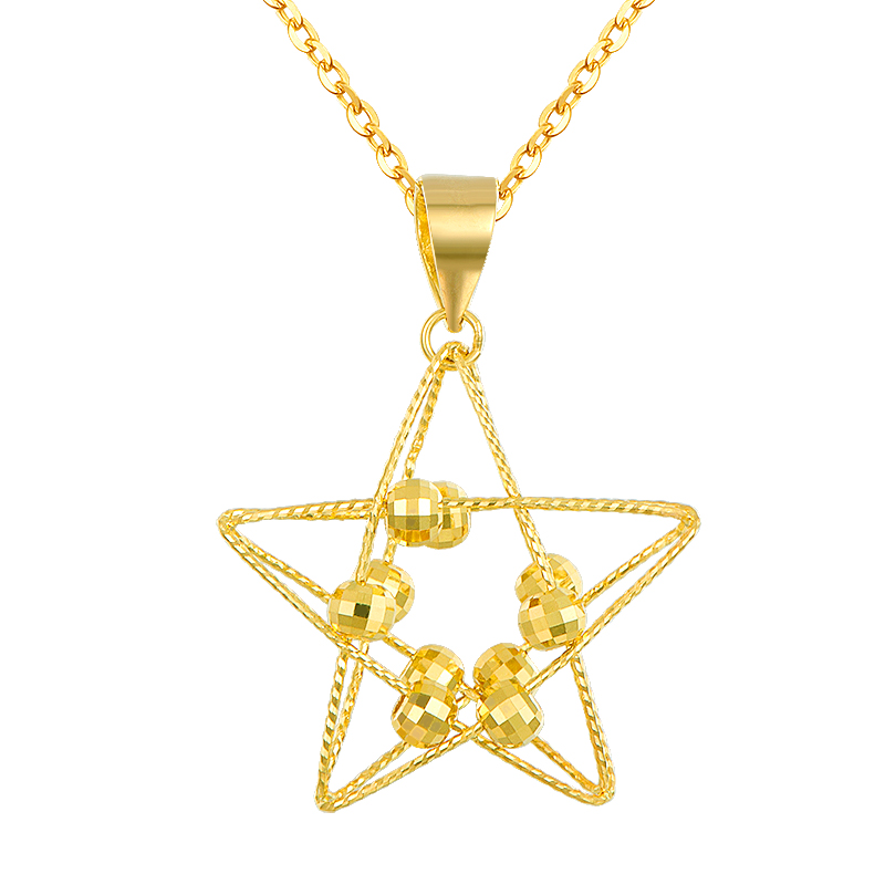 Одноцветное AU750 розовое золото Цепочки и ожерелья цепь Для женщин пять звезд Цепочки и ожерелья подвеска
