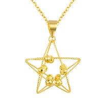 Твердая AU750 Роза Золотая цепочка Женщины Пять звезда Подвеска Ожерелье