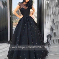 Charming A Line Scoop Neck Cap Sleeve Open Back Black Tulle Long Prom Party Dress Pearls Cocktail Formal Dress Quinceanera Dress