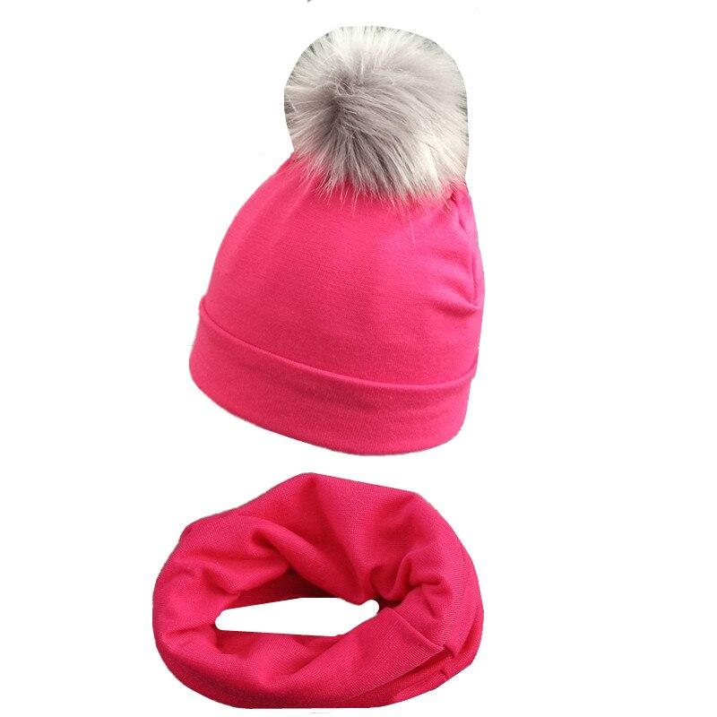 Baby Cotton Cap Pompom Hat Scarf Set For Kids Boys Girls Caps Spring Autumn Children's Hats Baby Bib Cotton O Ring Scarf Collar