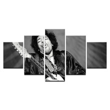 "Vintage Black White Poster For ""Jimi"" Hendrix Canvas Painting For Room Home Decoration Wall Art 5 Pcs Singer Picture Framed(China)"