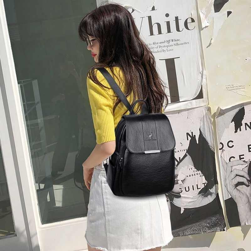 2020 wanita Kulit Ransel Kualitas Tinggi Wanita Vintage Tas Ransel Untuk Anak Perempuan Tas Sekolah Tas Travel Bagpack Wanita Sac Dos Kembali pack