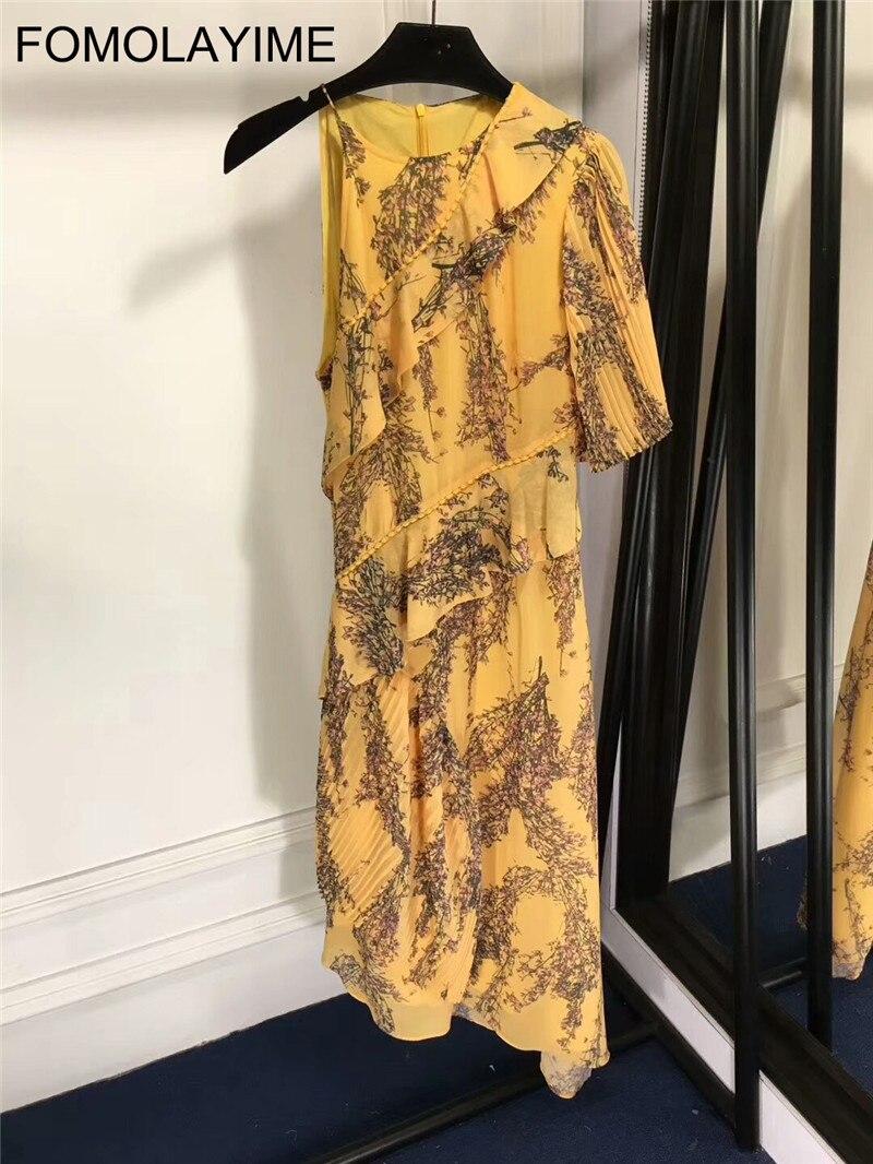 FOMOLAYIME High Quality Women Summer One Shoulder Dress 2018 New Fashion Designer Runway Print Dresses Vestidos Robe Femme