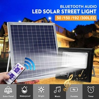 50/100/192/300 LED Solar Power Music Flood Light bluetooth Speaker Outdoor Lamp Work Time About 12 40h White Waterproof IP67