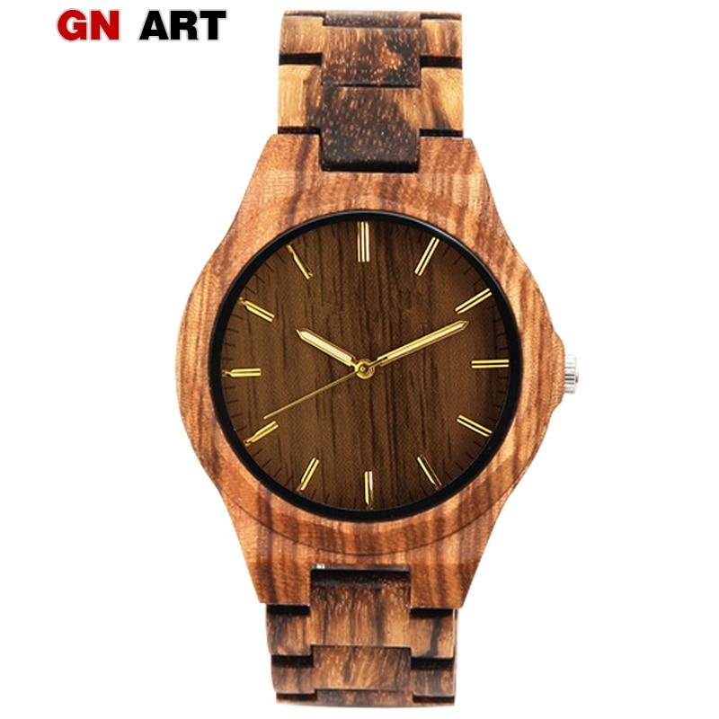 GNART деревянные часы мужские часы плед Дерево Коричневый наручные часы Relogio Masculino