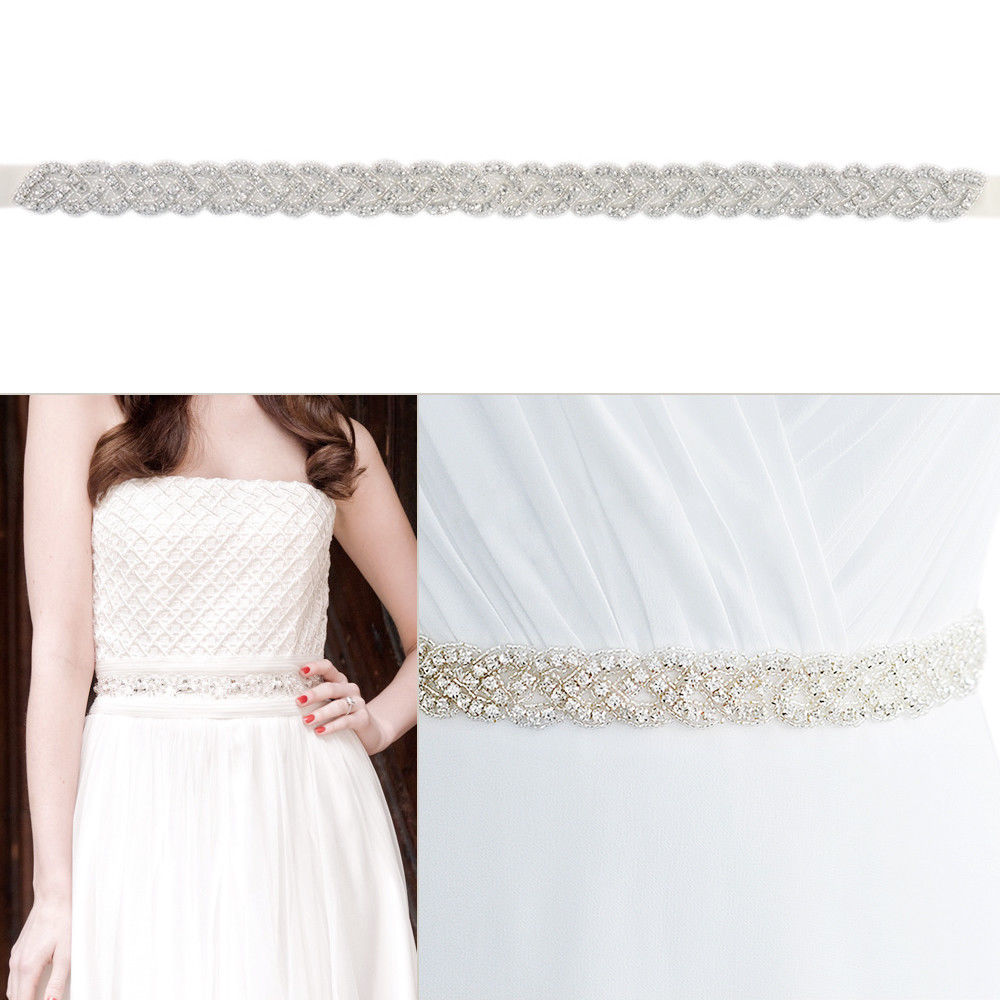 Women's Vintage White Rhinestones Handmade Belt Wedding Dress Belt Accessories Marriage Bridal Sashes Belt