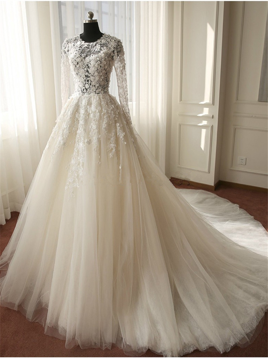 Real Image Lace Ball Gown China Wedding Dresses 2015 White Wedding Gowns Long Sleeves Cheap