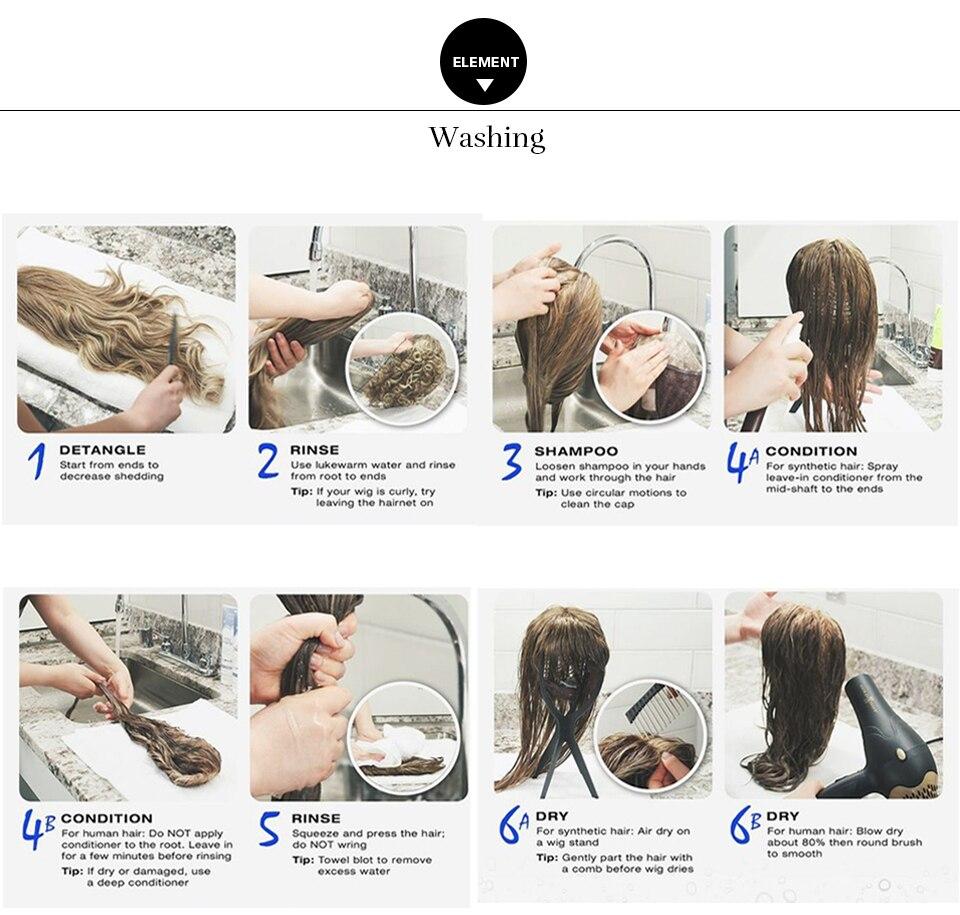 Elemento 18 peruca sintética longa com franja
