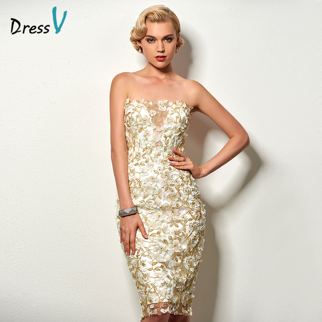 abdc48de89 Dressv strapless knee length cocktail dress appliques sleeveless sheath  short formal party dress lace cocktail party dress short