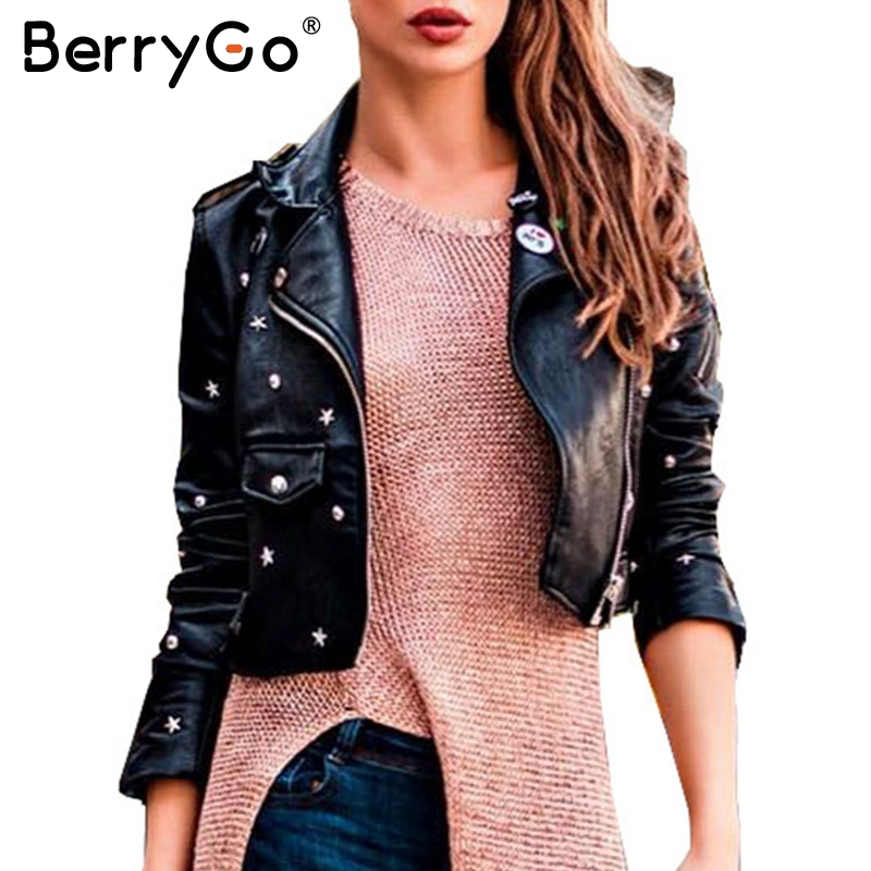 BerryGo PU leather   jacket   coat female rivet outerwear coats Zipper   basic     jackets   faux leather coat Autumn winter   jacket   women