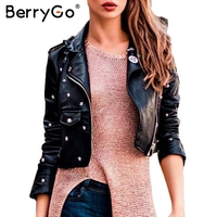 BerryGo PU Leather Jacket Coat Female Rivet Outerwear Coats Zipper Basic Jackets Faux Leather Coat Autumn