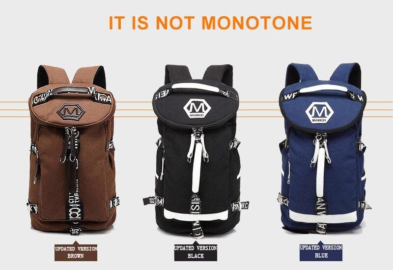 Men's Multi-Functional Backpack Vintage Shoulder Bag High Quality Canvas Male Bagpack Rucksack Travel Luggage for Weekend 9