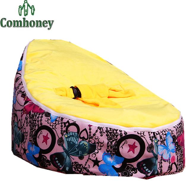 Cadeira de bebê Cadeira do Saco de Feijão Tampa De Cama Borboleta Infantil Sem Cuidados Com o Bebê Da Criança Garoto Mobiliário Sofá Preguiçoso Recém-nascidos de enchimento Macio cama