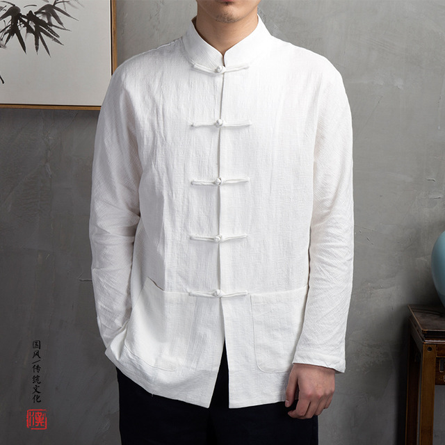 Herrenbekleidung & Zubehör Leinen Männer Shirts Chinesischen Stil Halbe Hülse Solide Baumwolle Stehkragen Kung Fu Hemd Tang-anzug Herren Kleid Shirts