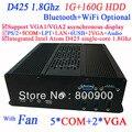 Высокое качество HTPC терминал с двойной VGA атом Intel D425 одноядерный процессор 1.8 ГГц 1 г оперативной памяти 160 г жесткий диск Windows , Linux