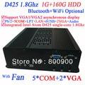 Boa qualidade de HTPC Mini PC com dual VGA Intel Atom D425 processador single - core 1.8 Ghz 1 G RAM 160 G HDD Windows Linux