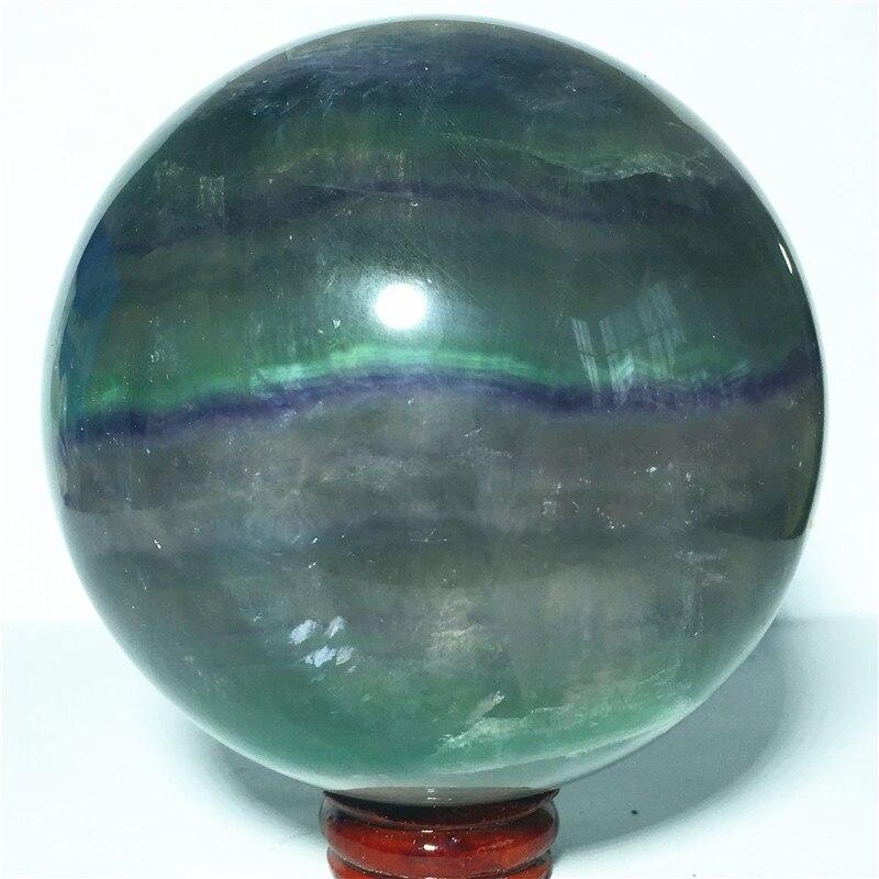Boule de cristal de quartz fluorite naturel pierre et artisanat reiki boule décorative de guérison (88mm)