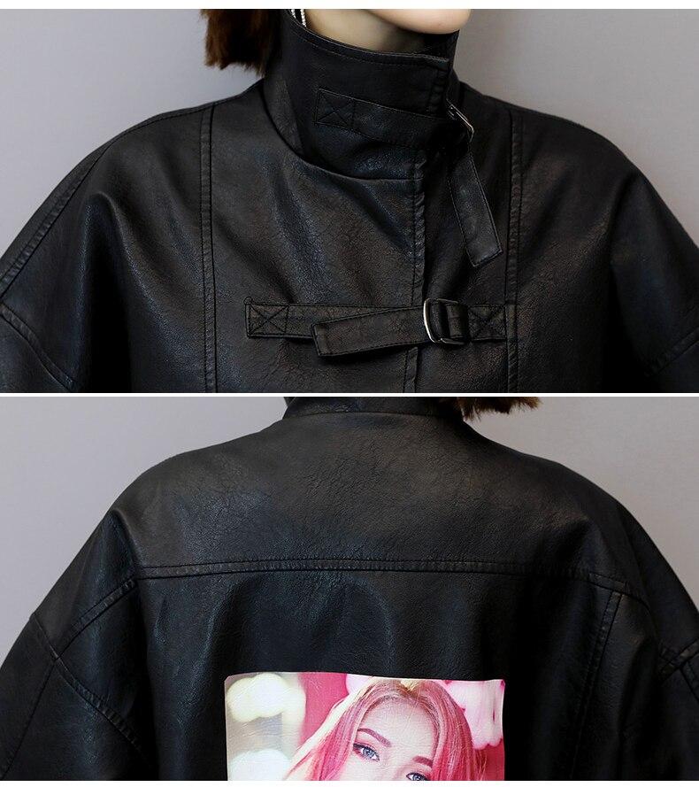 Pu Vq11 Noir Faux Veste Manteau Casual Hiver Femmes Automne Moto Wreeima 2018 Cuir Survêtement Manteaux 7nxBZ6