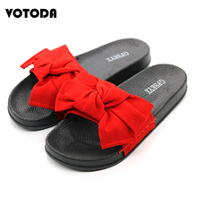Fashion Flat Bow Slippers For Women Shoes Summer Large Flip Flops Outdoor Bowtie Slides Woman Beach Sandals Plus Size